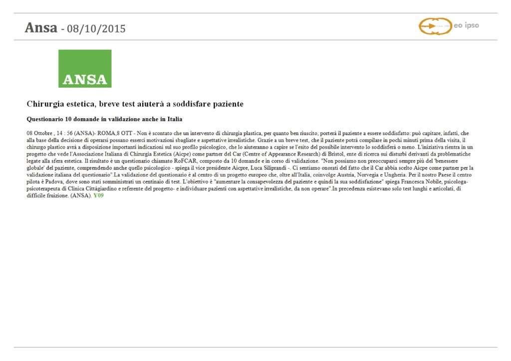 articolo 08-10-2015 ANSA